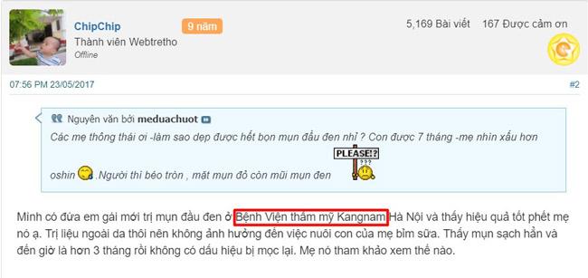 feedback khách hàng trị mụn đầu đen ở thẩm mỹ kangnam tại hà nội