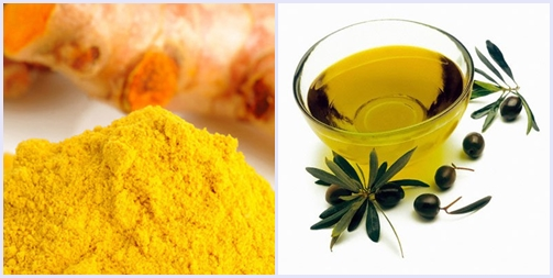 Tinh bột nghệ + dầu oliu giúp bạn trị mụn đầu đen