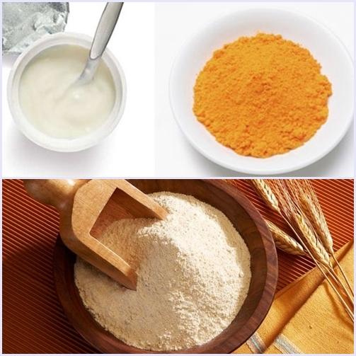 Mặt nạ trị mụn đầu đen bằng bột nghệ, sữa chua và bột gạo